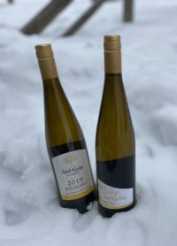 Two bottles of wine in the snow